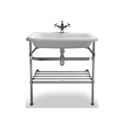large roll top basin with saintless steel stand 1