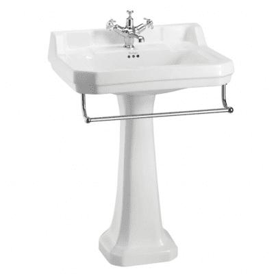 Edwardian 61 cm basin, towel rail and standard pedestal 11