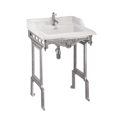 Classic basin and brushed aluminium basin stand 10