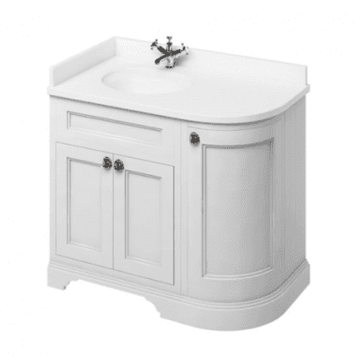 Freestanding LH curved corner unit with integrated white basin 1