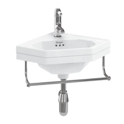Corner 59.8cm cloakroom basin with towel rail 3